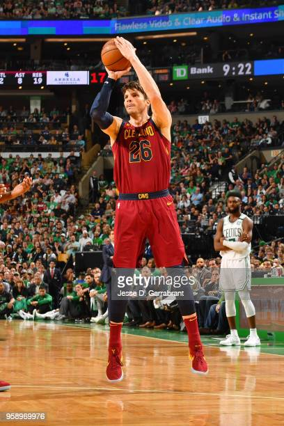 Kyle Korver of the Cleveland Cavaliers shoots the ball against the Boston Celtics during Game Two of the Eastern Conference Finals of the 2018 NBA...