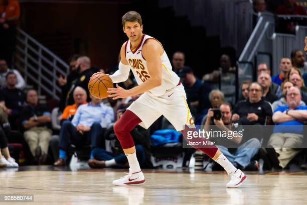 Kyle Korver of the Cleveland Cavaliers takes the ball down court against the Detroit Pistons during the second half at Quicken Loans Arena on March 5...