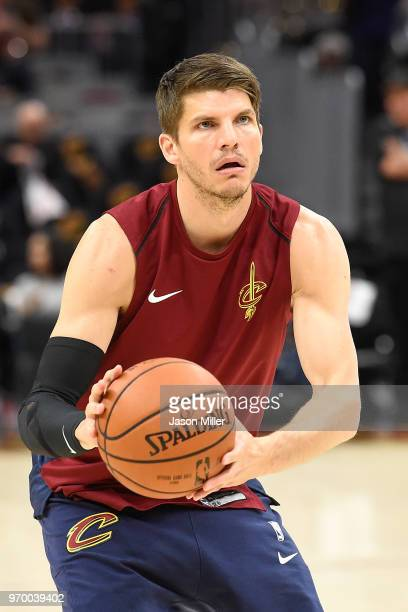 Kyle Korver of the Cleveland Cavaliers warms up prior to Game Four of the 2018 NBA Finals against the Golden State Warriors at Quicken Loans Arena on...