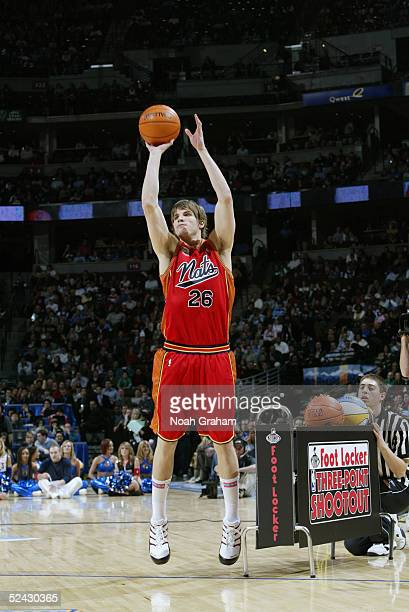 Kyle Korver of the Philadelphia 76ers attempts a shot at the Foot Locker ThreePoint Shootout during 2005 NBA AllStar Weekend on February 19 2005 at...