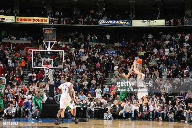 Kyle Korver of the Philadelphia 76ers shoots a three-pointer to tie the game in double overtime against the Boston Celtics on January 13, 2006 at the...