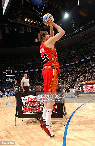 Kyle Korver of the Philadelphia 76'ers takes a threepointer during the Foot Locker ThreePoint Shootout during 2005 NBA AllStar Weekend on February 19...