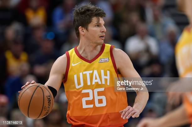 Kyle Korver of the Utah Jazz brings the ball up court against the San Antonio Spurs in a NBA game at Vivint Smart Home Arena on February 09 2019 in...