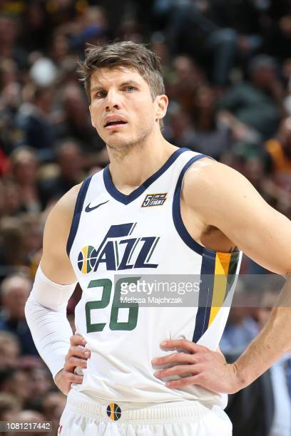 Kyle Korver of the Utah Jazz catches breath during the game against the Los Angeles Lakers on January 11 2019 at vivintSmartHome Arena in Salt Lake...