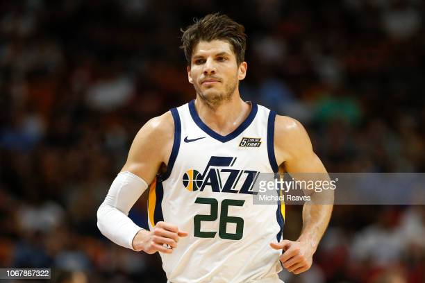 Kyle Korver of the Utah Jazz in action against the Miami Heat during the first half at American Airlines Arena on December 2 2018 in Miami Florida...