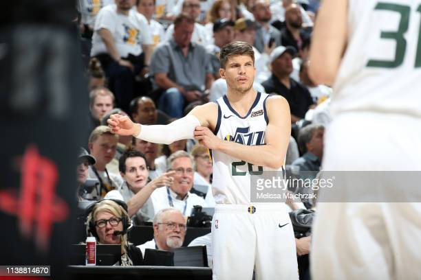 Kyle Korver of the Utah Jazz looks on against the Houston Rockets during Game Four of Round One of the 2019 NBA Playoffs on April 22 2019 at...