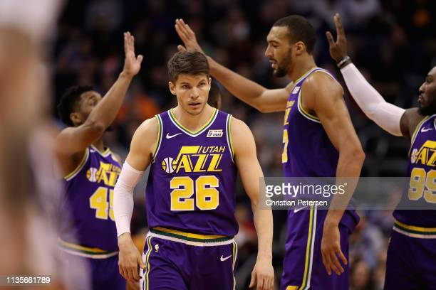 Kyle Korver of the Utah Jazz reacts after scoring against the Phoenix Suns during the second half of the NBA game at Talking Stick Resort Arena on...