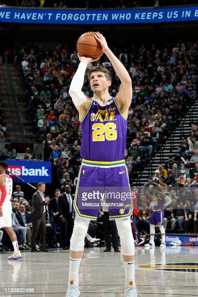 Kyle Korver of the Utah Jazz shoots a free throw during the game against the Washington Wizards on March 29 2019 at vivintSmartHome Arena in Salt...