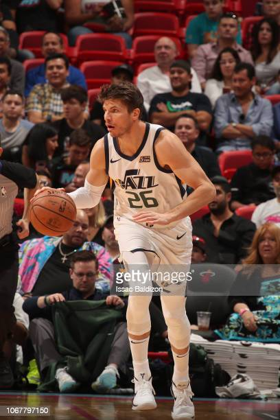 Kyle Korver of Utah Jazz handles the ball against the Miami Heat on December 2 2018 at American Airlines Arena in Miami Florida NOTE TO USER User...
