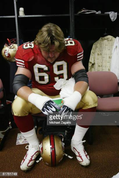 Kyle Kosier of the San Francisco 49ers prepares before the game against the Seattle Seahawks at Monster Park on November 7, 2004 in San Francisco,...