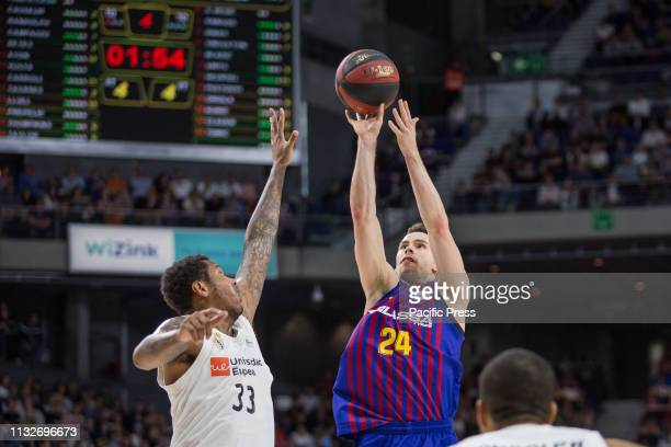 Kyle Kuric during FC Barcelona Lassa victory over Real Madrid in Liga Endesa regular season game celebrated in Madrid at Wizink Center March 24th 2019