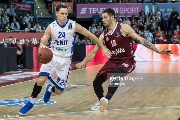 Kyle Kuric of St Petersburg and Stefan Jovic of Muenchen battle for the ball during the EuroCup Top 16 Round 3 match between FC Bayern Munich and...