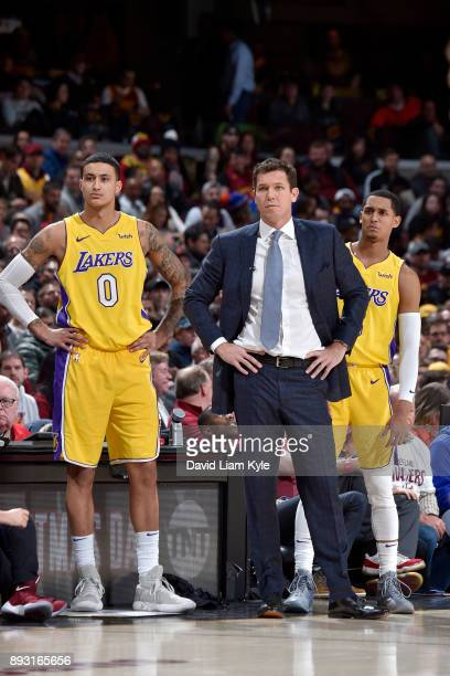 Kyle Kuzma and Head Coach Luke Walton of the Los Angeles Lakers during the game against the Cleveland Cavaliers on December 14 2017 at Quicken Loans...