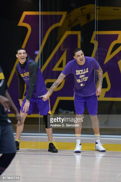 Kyle Kuzma and Lonzo Ball of the Los Angeles Lakers laugh during an all access practice on February 12 2018 at UCLA Heath Training Center in El...