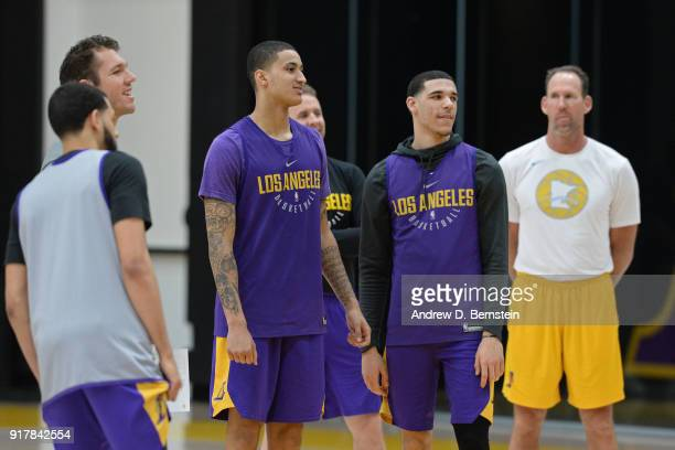 Kyle Kuzma and Lonzo Ball of the Los Angeles Lakers look on during an all access practice on February 12 2018 at UCLA Heath Training Center in El...