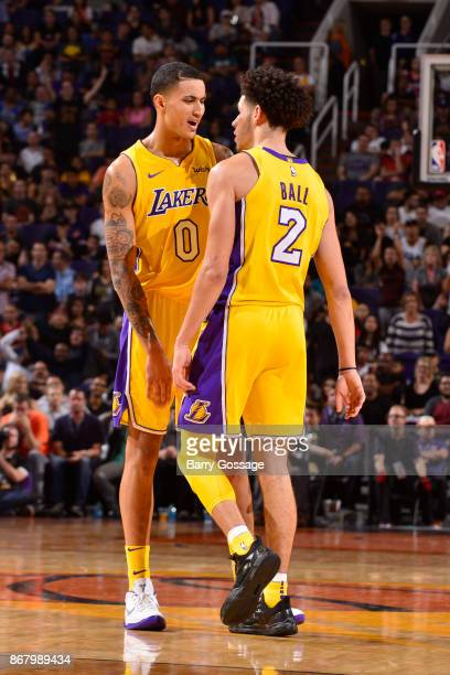 Kyle Kuzma and Lonzo Ball of the Los Angeles Lakers react during the game against the Phoenix Suns on October 20 2017 at Talking Stick Resort Arena...