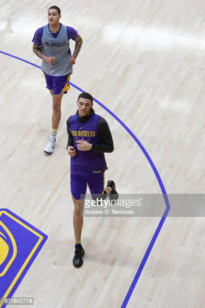 Kyle Kuzma and Lonzo Ball of the Los Angeles Lakers run up court during an all access practice on February 12 2018 at UCLA Heath Training Center in...