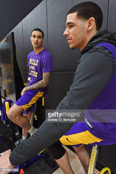 Kyle Kuzma and Lonzo Ball of the Los Angeles Lakers talk during an all access practice on February 12 2018 at UCLA Heath Training Center in El...