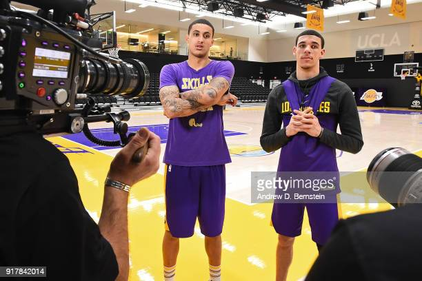 Kyle Kuzma and Lonzo Ball of the Los Angeles Lakers talk to the media during an all access practice on February 12 2018 at UCLA Heath Training Center...