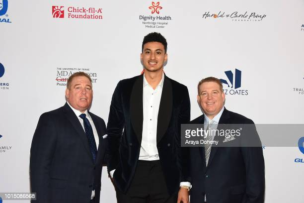 Kyle Kuzma and the Pump brothers attend the 18th Annual Harold and Carole Pump Foundation Gala at The Beverly Hilton Hotel on August 10 2018 in...