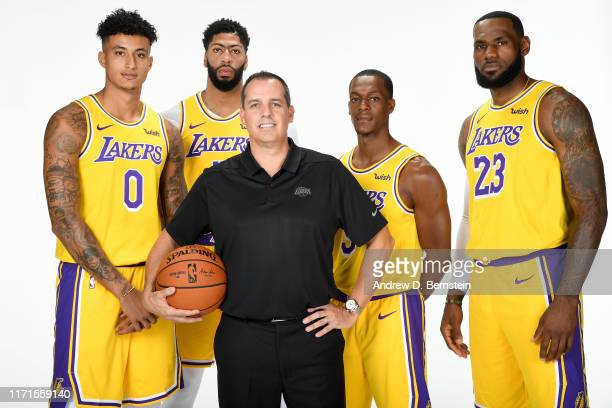 Kyle Kuzma Anthony Davis Head Coach Frank Vogel Rajon Rondo and LeBron James of the Los Angeles Lakers pose for a portrait during media day on...
