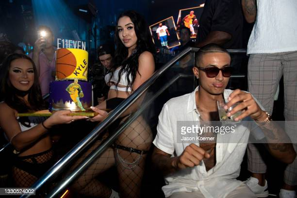 Kyle Kuzma at the Travis Scott Performance at E11EVEN on July 25, 2021 in Miami, Florida.