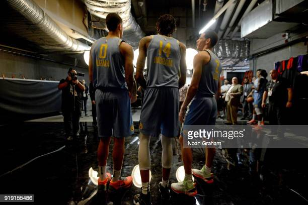 Kyle Kuzma Brandon Ingram and Lonzo Ball of the US Team pose for a portrait during the Mtn Dew Kickstart Rising Stars Game during AllStar Friday...