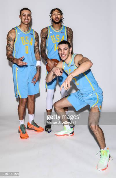 Kyle Kuzma Brandon Ingram and Lonzo Ball of the USA team pose for a portrait prior to the Mountain Dew Kickstart Rising Stars Game during AllStar...