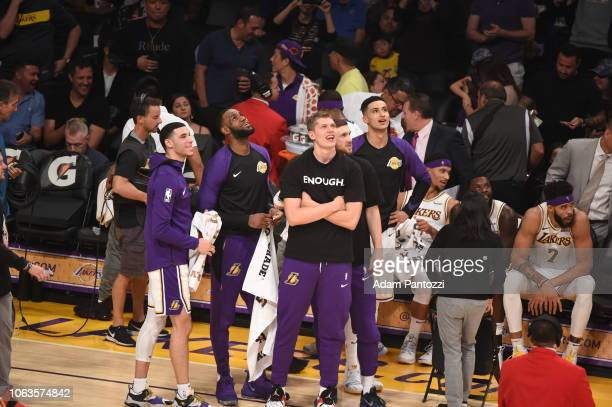 Kyle Kuzma Moritz Wagner and JaVale McGee LeBron James Lonzo Ball of the Los Angeles Lakers react during the game against the Atlanta Hawks on...
