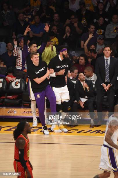 Kyle Kuzma Moritz Wagner and JaVale McGee of the Los Angeles Lakers react during the game against the Atlanta Hawks on November 11 2018 at Staples...
