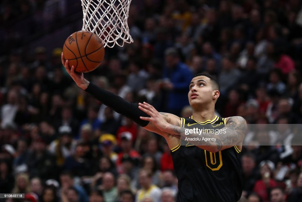 Kyle Kuzma of Los Angeles Lakers in action during an NBA game between Chicago Bulls and Los Angeles Lakers at United Center on January 26, 2018 in Chicago, United States.