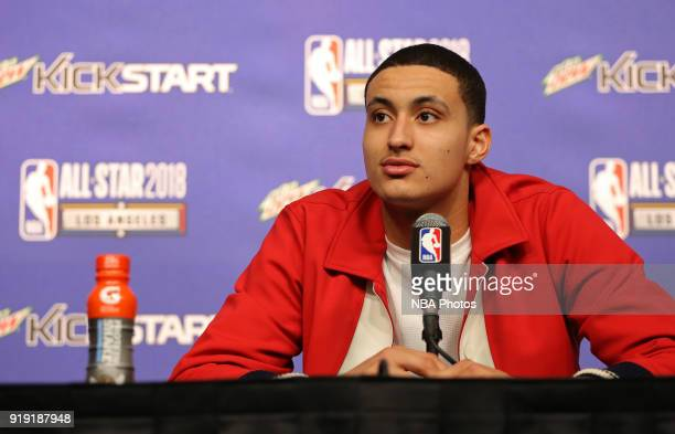 Kyle Kuzma of Team USA talks to the media during a press conference after the Mountain Dew Kickstart Rising Stars Game as part of AllStar Friday...