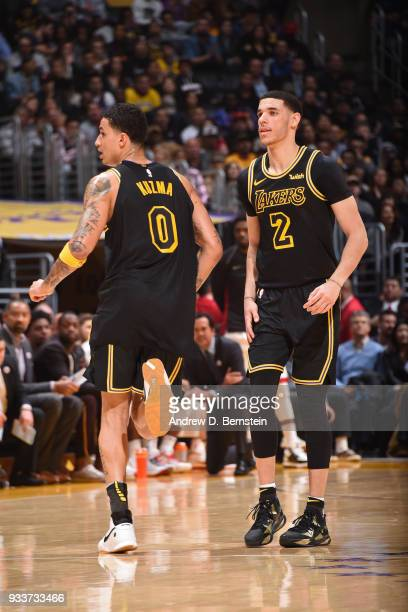 Kyle Kuzma of the Los Angeles Lakers and Lonzo Ball of the Los Angeles Lakers look on during the game against the Miami Heat on March 16 2018 at...