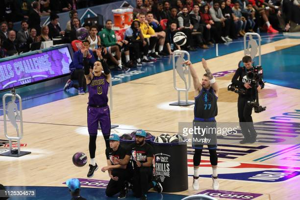 Kyle Kuzma of the Los Angeles Lakers and Luka Doncic of the Dallas Mavericks Mavericks participate in the 2019 Taco Bell Skills Challenge as part of...
