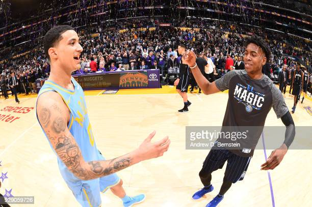 Kyle Kuzma of the Los Angeles Lakers and Wesley Iwundu of the Orlando Magic shake hands after a game at STAPLES Center on March 7 2017 in Los Angeles...
