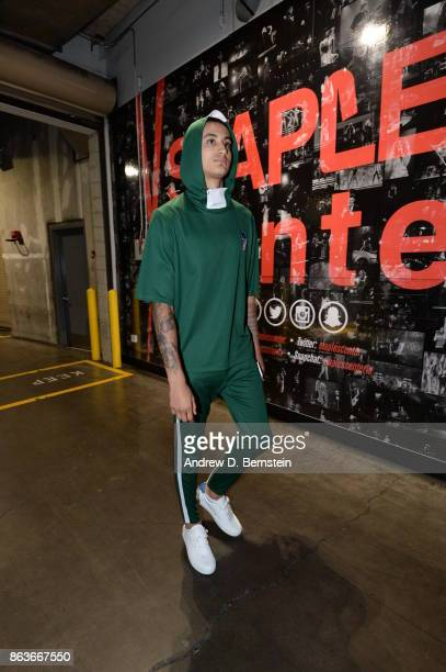 Kyle Kuzma of the Los Angeles Lakers arrives before the game against the LA Clippers on October 19 2017 at STAPLES Center in Los Angeles California...