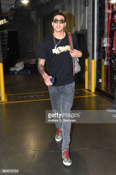 Kyle Kuzma of the Los Angeles Lakers arrives before the game against the San Antonio Spurs on January 11 2018 at STAPLES Center in Los Angeles...