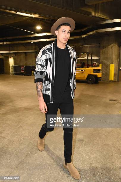 Kyle Kuzma of the Los Angeles Lakers arrives before the game against the Cleveland Cavaliers on March 11 2018 at STAPLES Center in Los Angeles...