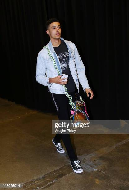 Kyle Kuzma of the Los Angeles Lakers arrives for an NBA game against the Toronto Raptors at Scotiabank Arena on March 14 2019 in Toronto Canada NOTE...