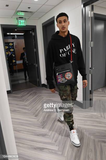 Kyle Kuzma of the Los Angeles Lakers arrives to the arena prior to the preseason game against the Denver Nuggets on October 2 2018 at STAPLES Center...