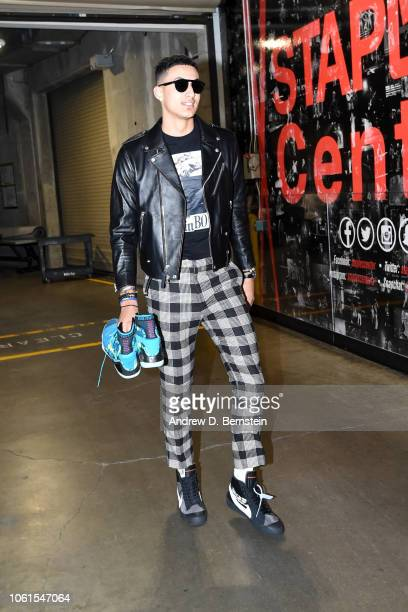 Kyle Kuzma of the Los Angeles Lakers arrives to the arena prior to the game against the Portland Trail Blazers on November 14 2018 at STAPLES Center...