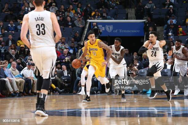Kyle Kuzma of the Los Angeles Lakers brings the ball up court against the Memphis Grizzlies on January 15 2018 at FedExForum in Memphis Tennessee...