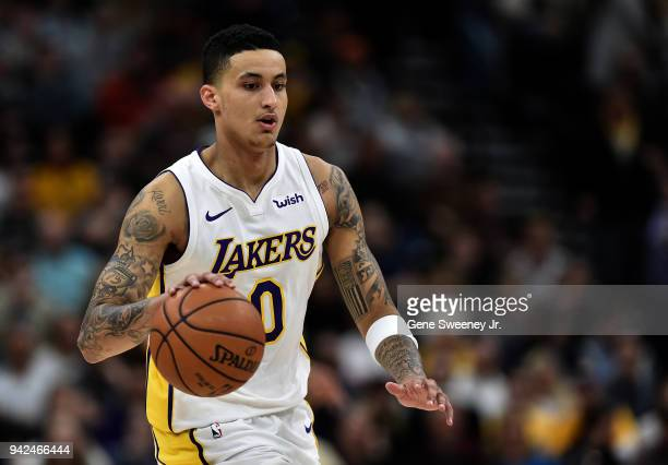 Kyle Kuzma of the Los Angeles Lakers brings the ball up court against the Utah Jazz in a game at Vivint Smart Home Arena on April 3 2018 in Salt Lake...