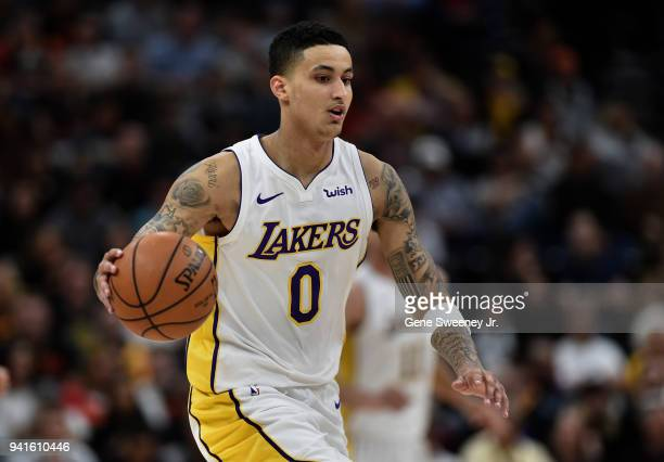 Kyle Kuzma of the Los Angeles Lakers brings the ball up court in the first half of a game against the Utah Jazz at Vivint Smart Home Arena on April 3...