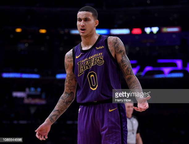 Kyle Kuzma of the Los Angeles Lakers calls for a shooting foul during a 112104 Laker win over the New Orleans Pelicans at Staples Center on December...