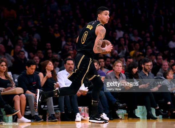 Kyle Kuzma of the Los Angeles Lakers dribbbles up court during the first half against the Milwaukee Bucks at Staples Center on March 30 2018 in Los...