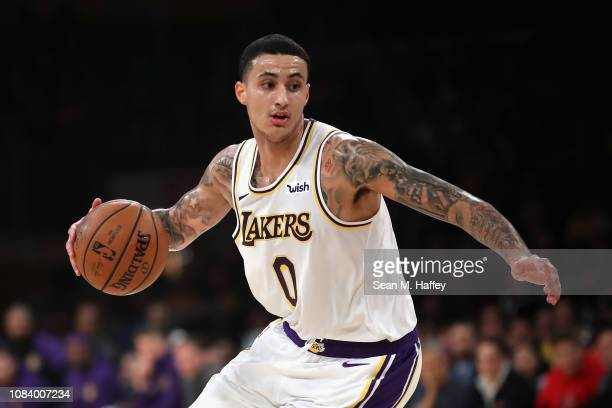 Kyle Kuzma of the Los Angeles Lakers dribbles the ball during the first half of a game against the Cleveland Cavaliers at Staples Center on January...
