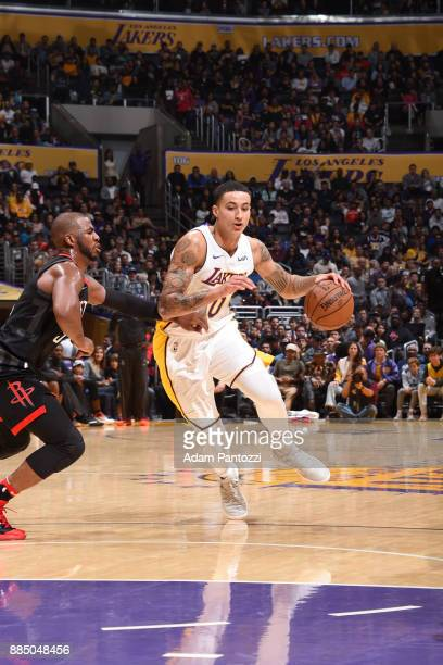 Kyle Kuzma of the Los Angeles Lakers drives to the basket against the Houston Rockets on December 3 2017 at STAPLES Center in Los Angeles California...