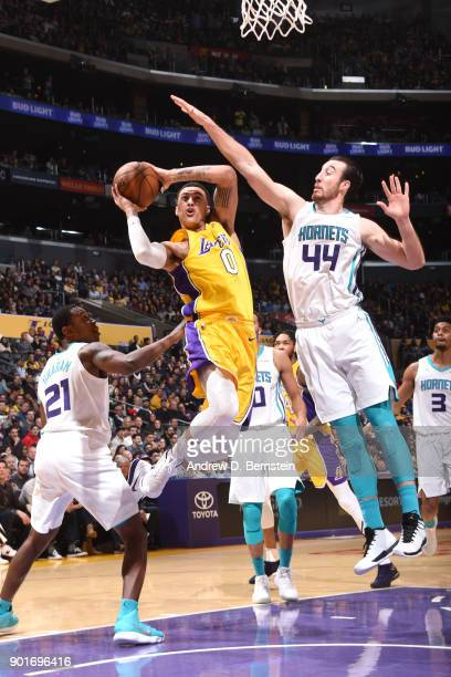 Kyle Kuzma of the Los Angeles Lakers drives to the basket against the Charlotte Hornets on January 5 2018 at STAPLES Center in Los Angeles California...