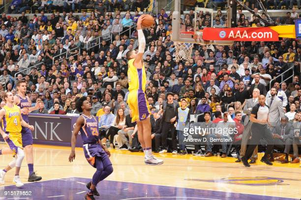Kyle Kuzma of the Los Angeles Lakers drives to the basket against the Phoenix Suns on February 6 2018 at STAPLES Center in Los Angeles California...